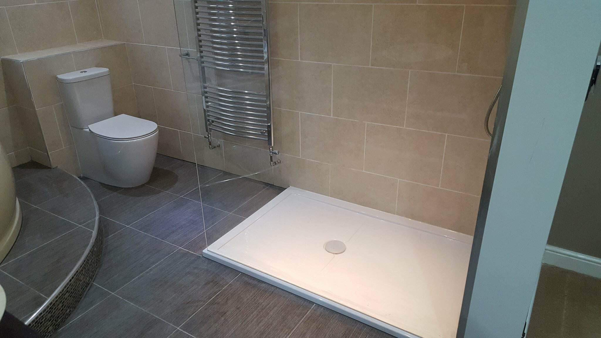 replacement of leaking inset wetroom floor with shower tray